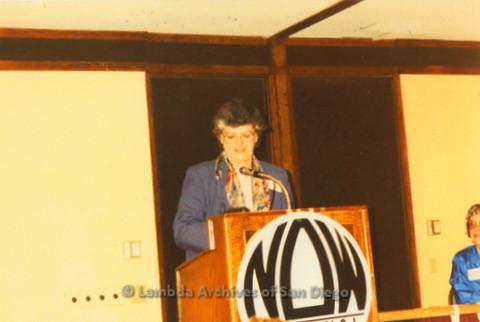 National Organization for Women, Susan B. Anthony Awards 1992: Jeri Dilno (center) speaking at podium, Gloria Johnson President of San Diego NOW, sitting far right.