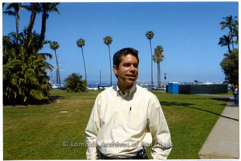 P249.019m.r.t First Same Sex Weddings in San Diego: Stephen Whitburn outside