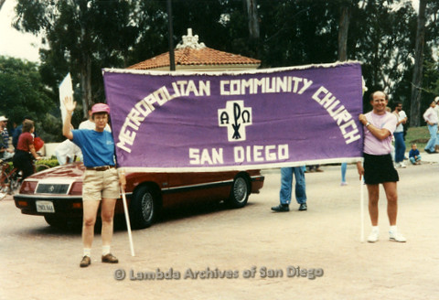 "San Diego Pride Parade, July 1998: ""Metropolitan Community Church San Diego"" banner"