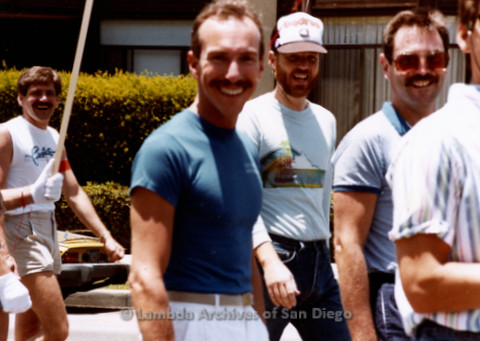 P338.024m.r.t Group of men at Gay Pride Parade for San Diego Democratic Club including Brad Truax and Charlie McKain