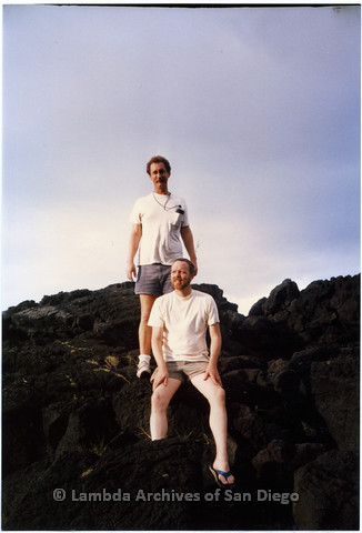 P338.065m.r.t Bob McWilliams (top) and Charles McKain (bottom) standing on rocks in Hawaii
