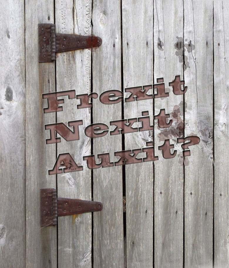 'Frexit Nexit Auxit' branded Western style into a wooden hinged door - Brexit