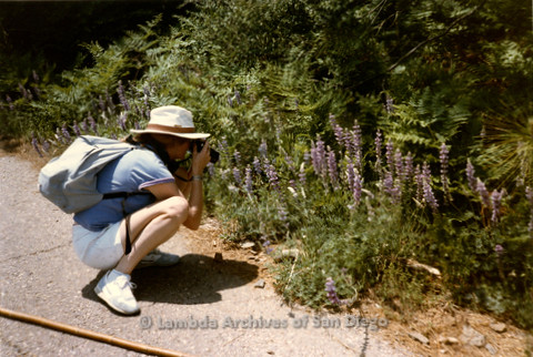 P008.123m.r.t Cuyamaca 1986: A hiker photographing flowers