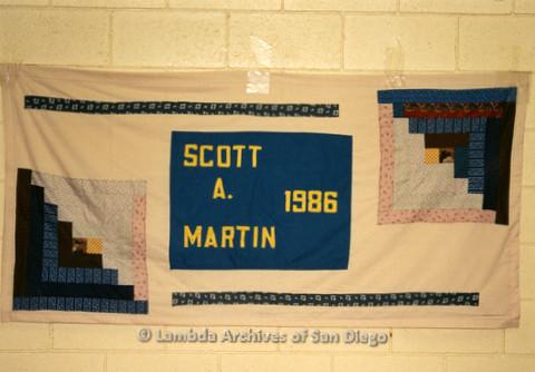 P019.061m.r.t AIDS Quilt at San Diego Golden Hall 1988: Light pink quilt dedicated to Scott A. Martin