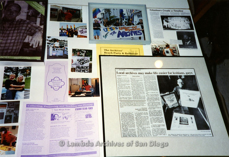 P199.015m.r.t Lesbian and Gay Contributions to the Arts exhibit at SD Public Library: Display of pictures and articles about LASD