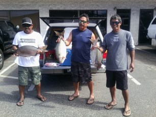 Gemeno Brothers from left to right - Tim, Wayne, Calvin. Winners of garys Nenue fishing tournament January 25 2015.