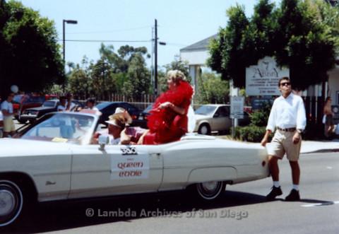 San Diego LGBTQ Pride Parade, 1992, 'Queen Eddie' Conlon, Red Dress
