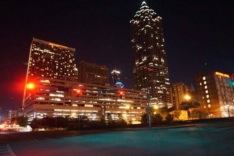 Street lights off downtown atlanta.