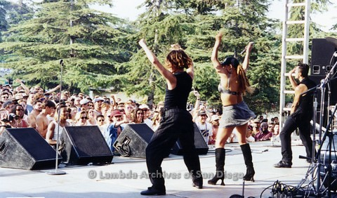 1995 - San Diego LGBT Pride Festival: Lesbian Performers on the Entertainment Main Stage.