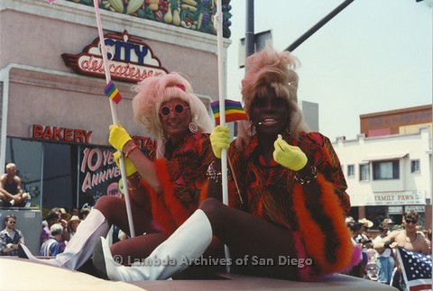 1994 - San Diego LGBT Pride Parade: Turning the corner at Sixth Avenue and University Avenue Parade Route. In front of City Deli, popular LGBT restaurant.