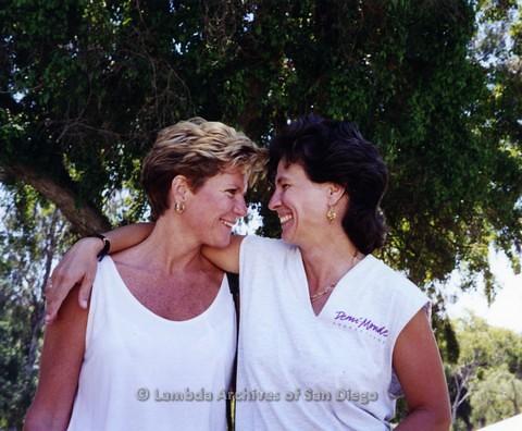 1995 - San Diego LGBT Pride Festival: Lesbian Couple Enjoying Pride Weekend.