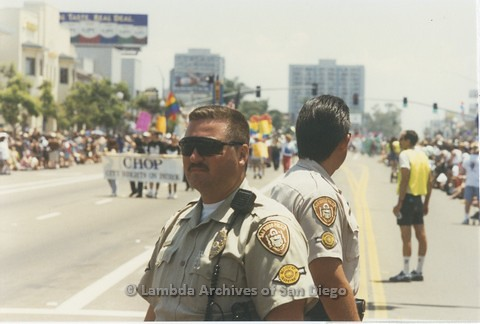 1995 - San Diego LGBT Pride Parade: San Diego Police Monitoring the Parade Crowd and Contingents.