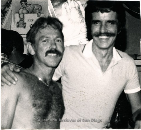 c.1980 - Saloon III Levi/Leather bar, owner Steve(left) and Fred Acheson (Owner of 'The Club' a Lesbian Club and later 'Bulc' Gay Men's Leather Bar) on the right.