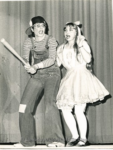 c.1980 - Metropolitan Community Church (MCC) Follies, Eileen Kennedy and Ann Marie perform, looks like an Edith Anna skit from the TV show 'Laugh In'.