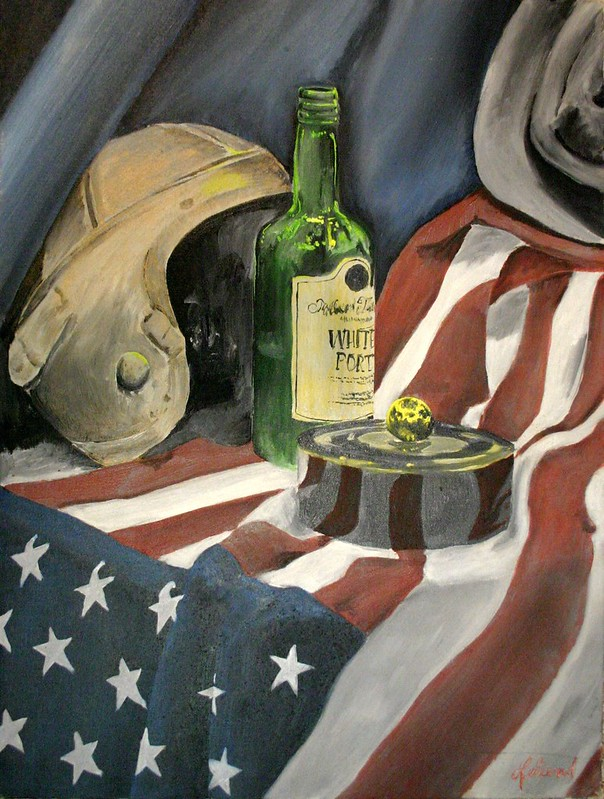 Still life with American flag, Leather football helmet, port wine bottle, jewelry box, hat and drapery.