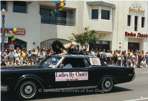 1994 - San Diego LGBT Pride Parade: Contingent - 'Ladies By Choice' From The Brass Rail Gay Night Club.