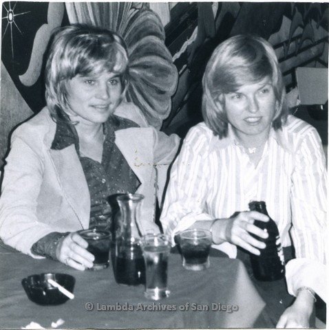 1976 - Lesbian couple, 'Peaches' left and 'Sam' right, Owners of 'The Apartment' a Lesbian Bar located near The 'Giant Dipper' Roller Coaster, in Mission Beach.