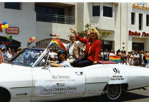 1994 - San Diego LGBT Pride Parade: Contingent - Rita Tamerius and Poppy DeMarco Dennis.