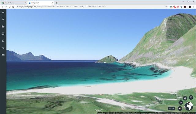 Het strand van Haukland op Lofoten. Het lijkt bijna een scene uit een compuiter spel, maar het laat redelijk zien hoe de locatie eruit ziet.