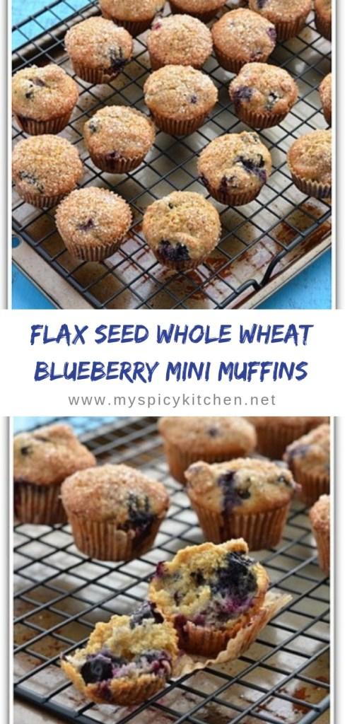 Healthy butterless flaxseed whole wheat blueberry mini muffins are moist inside with a crunchy top.  Great for breakfast and as a snack