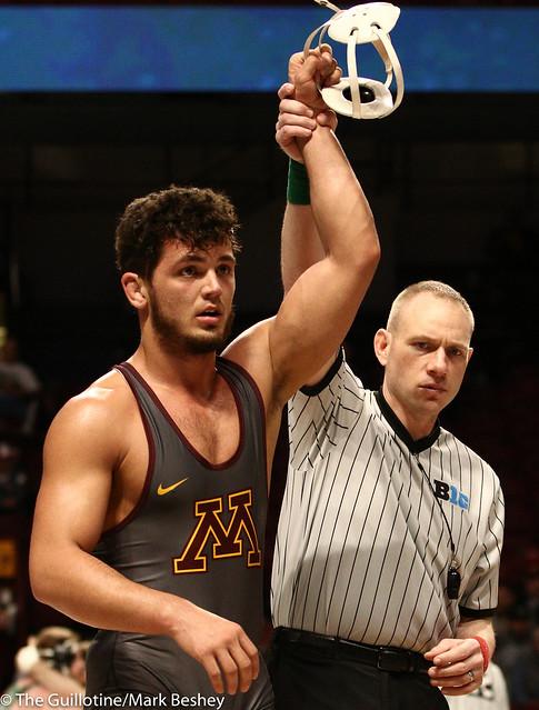 Cons. Round 1 - Brandon Krone (Minnesota) 9-14 won by major decision over Kyle Jasenski (Maryland) 10-17 (MD 13-2) - 1903amk0436