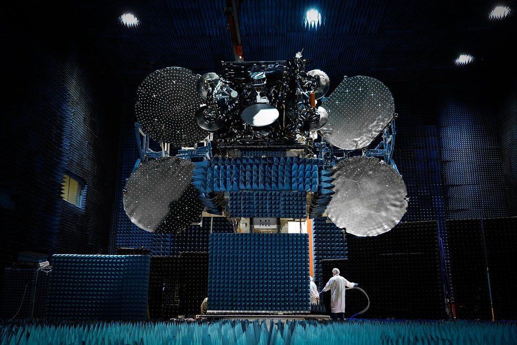 EUTELSAT 7C in the compact antenna test range at Space Systems Loral (SSL)