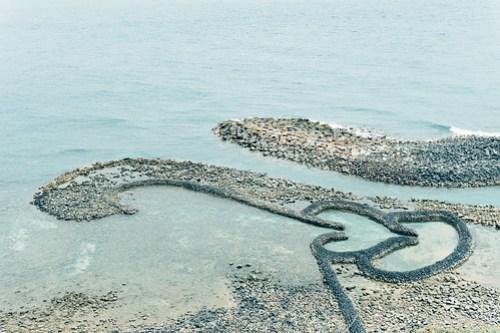 Two Hearts Stone Weir (雙心石滬), Qimei island, Penghu, Taiwan