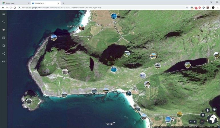 Via Google Earth kun je vrijwel dezelfde 3D kaart als Maps bekijken, maar je hebt de optie op foto's weer te geven zodat je kunt zien wat voor foto's je op die plek kunt maken... bij benadering, want het is niet altijd even nauwkeurig