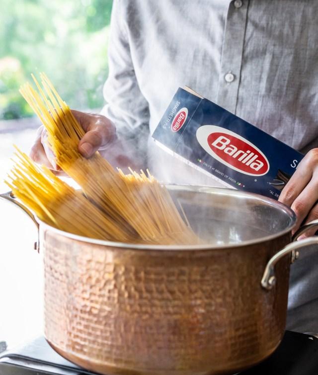 always add spaghetti whole--never break it in half