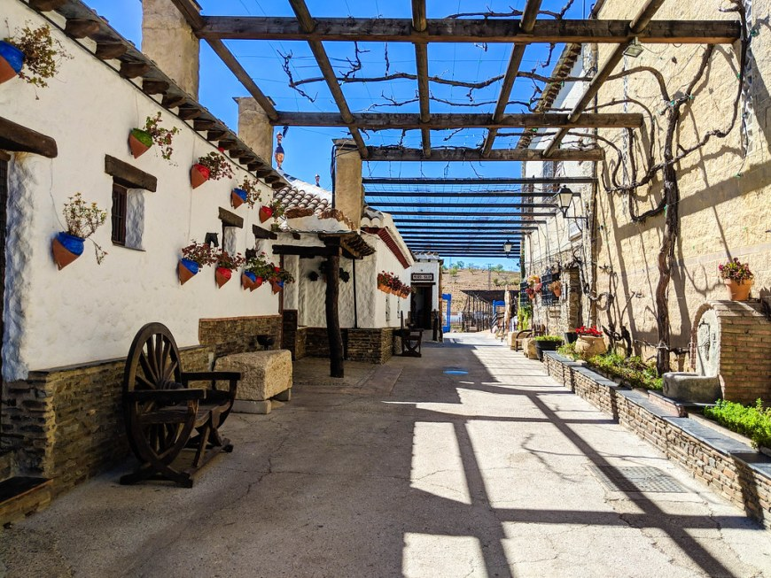 The courtyard of the winery, decorated with blue flower pots