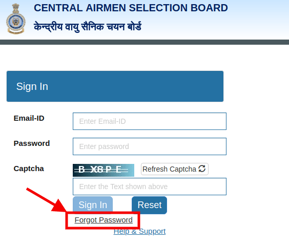 Fetching Airmen Selection 01/2020 Result if forgot password
