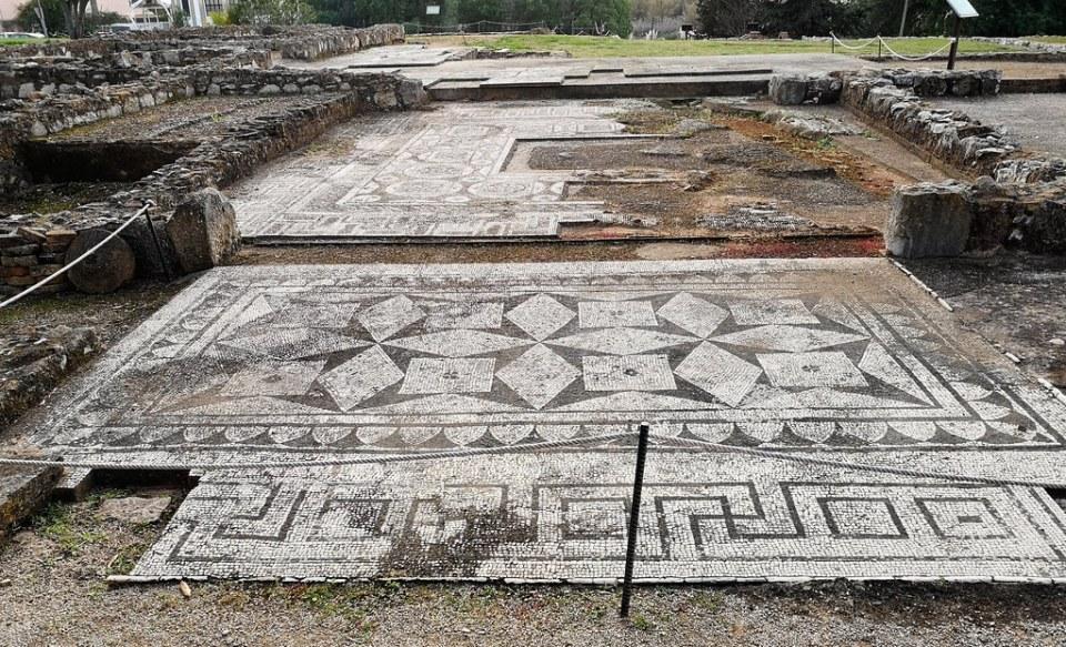 Ostium entrada con mosaicos Villa Romana de Cerro da Vila Vilamoura Algarve Portugal