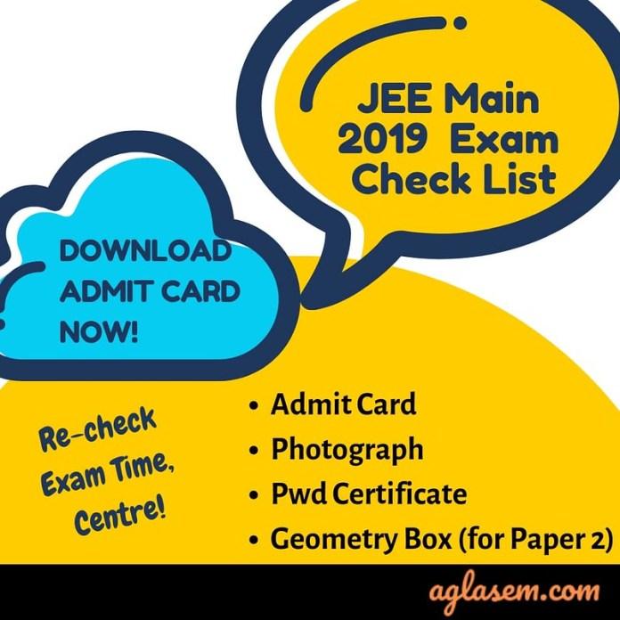 JEE Main 2019 Exam Check List