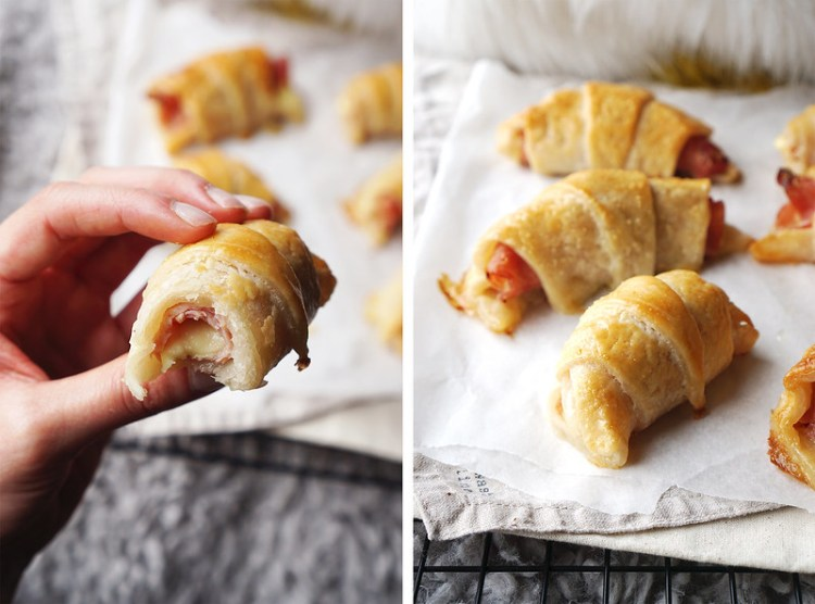Homemade gluten free ham and cheese croissants made with Jus Rol gluten free puff pastry