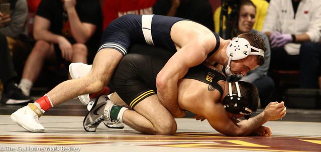 Quarterfinal - Brady Berge (Penn State) 18-2 won in sudden victory - 2 over Pat Lugo (Iowa) 16-7 (SV-2 4-2) - 1903amk0280