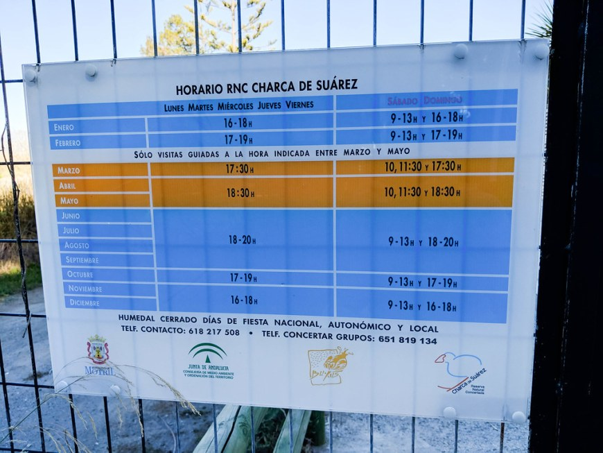 The timetable of the bird's reserve