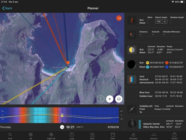 Een screenshot van Photopills, met een berg aan informatie die van pas kan komen om je fotosessie te plannen.