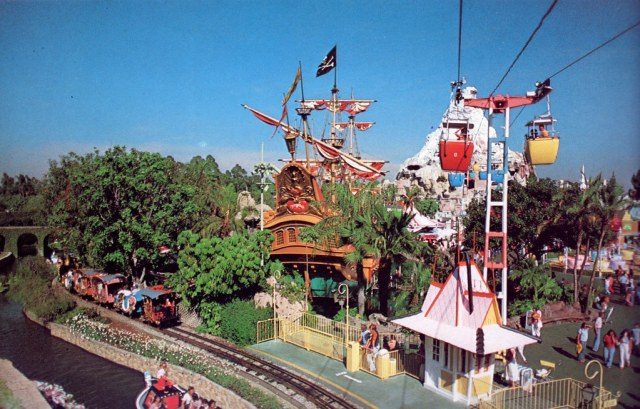 Skyway passing Casey Jones Jr., Storybook Land and the Chicken of the Sea Pirate Ship