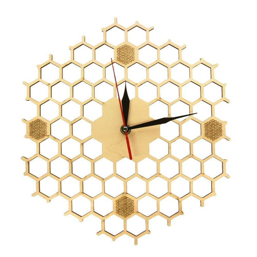 Honeycomb Inspired Wooden Wall Clock With Non Ticking Silent Sweep Minimalist Clock Hexagonal Kitchen Wall Decor Bee Lovers Gift