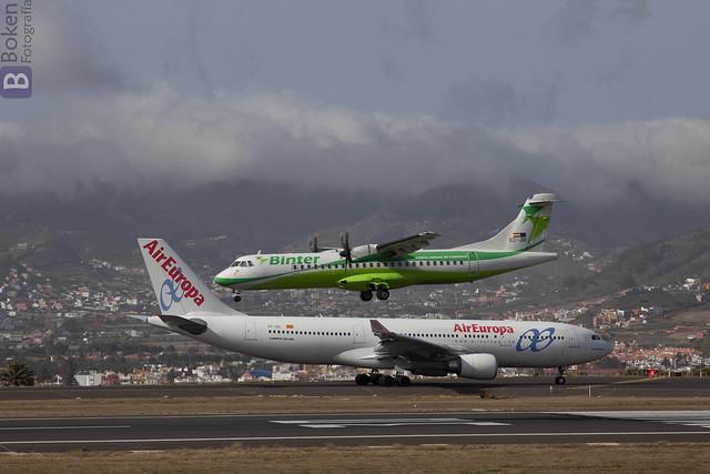 ATR-72 de Binter Canarias y Airbus A330 de Spanair