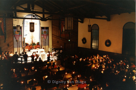 P103.014m.r.t Dignity San Diego, Christmas 1988: Church congregation holding candles