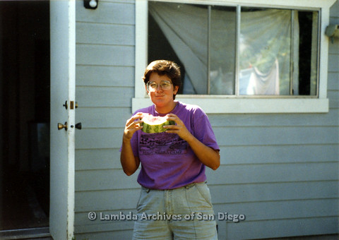 P024.324m.r.t Commonwealth: Sheila Shanahan enjoying a slice of watermelon.