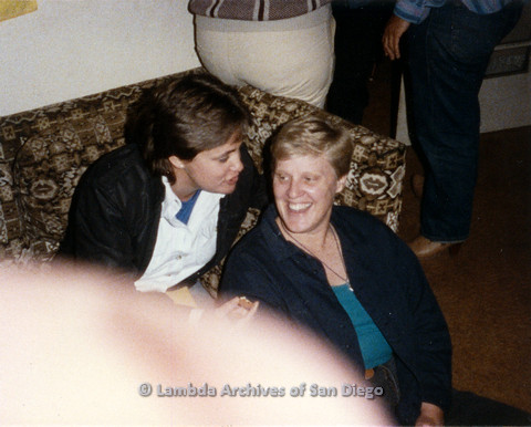 P024.330m.r.t Crestwood St: Ladonna Coles (left) and Sally Hopkins (center) on and by a couch.