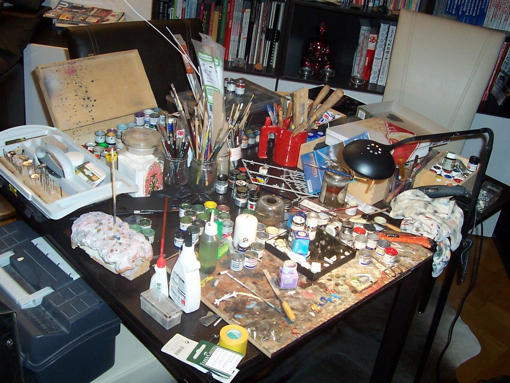 Messy Work Station The Current Working Place For Model