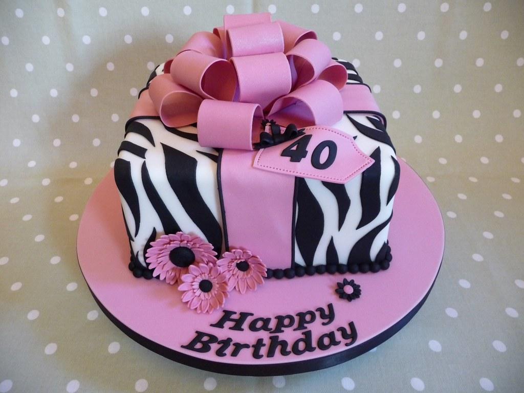 Zebra Print Cake 40th Birthday Cake Debbie Flickr
