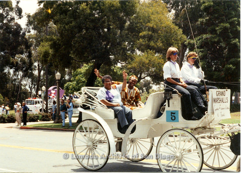 P024.401m.r.t 1990 San Diego Pride Parade: Cythia Lawrence Wallace in T-Shirt, Grand Marshalls
