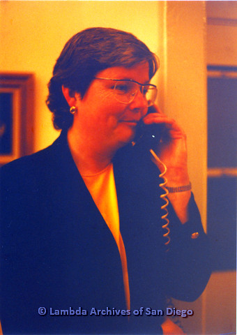 P151.050m.r.t Christine Kehoe profile talking on telephone looking right