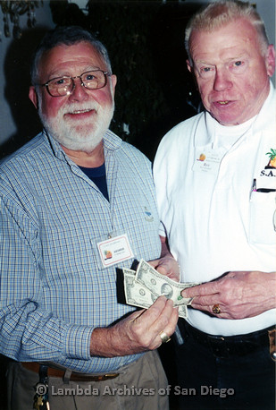 P040.062m.r.t SAGE General Meeting; from left to right: George Caron and President Ray Keiser