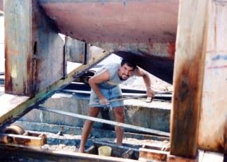 Dave Bricker repainting Blue Monk, Spring 1991