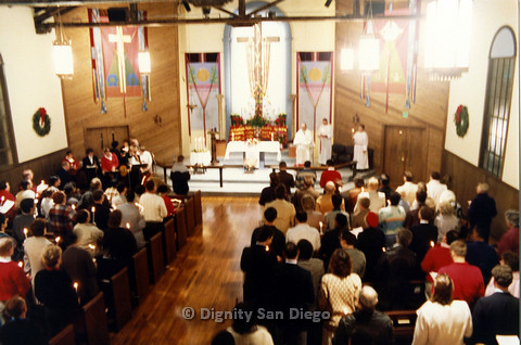 P103.018m.r.t Dignity San Diego, Christmas 1988: Whole church congregation standing